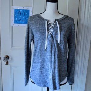 Gray Top with Shoe Lace Tie Up